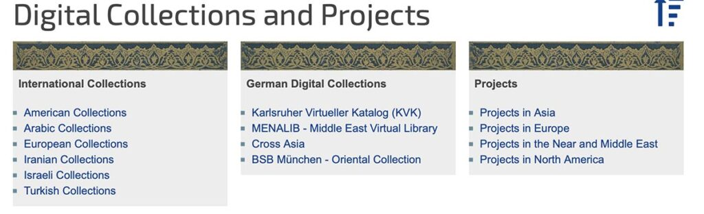 "A screenshot of the international digital projects and collections that ""Translatio"" links on their website."