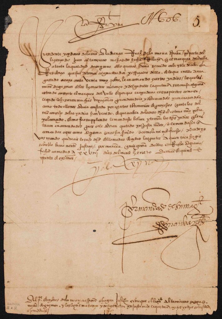 "Letter dated Jan. 28, 1536, signed by Juana la Loca (1457–1555), queen of Castilla and later of Aragón. The letter seeks justice after the ""confiscation"" of Indians (presumably laboring on her behalf) by one Juan Altamirano"