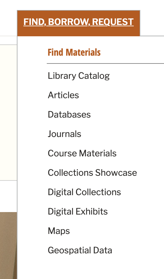 "A screenshot of the ""Find, Borrow, Request"" menu that includes links to Library Catalog, Articles, Databases, Journals, Course Materials, Collections Showcase, Digital Collections, Digital Exhibits, Maps, and Geospatial Data."